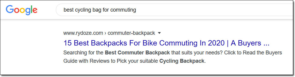 Google Cycling Backpack Search Results