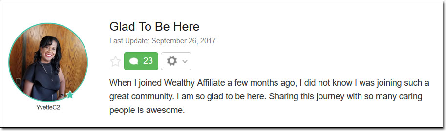 Wealthy Affiliate Testimonial 1