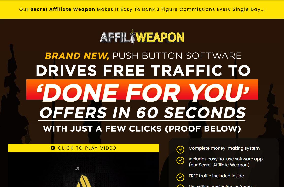 Affili Weapon Website Screenshot